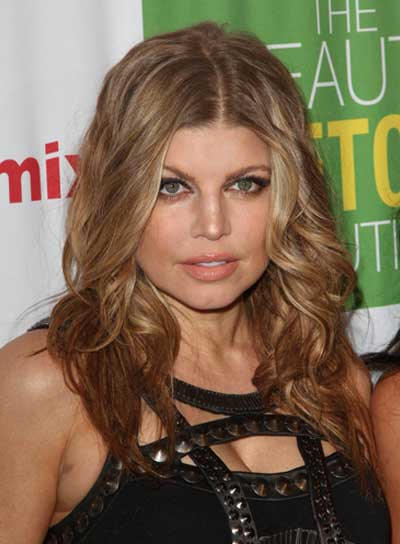 Fergie Medium, Blonde, Tousled Hairstyle