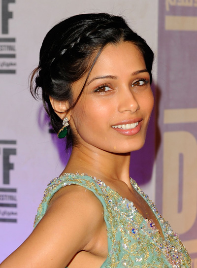 Freida Pinto Chic, Black Updo with Braids and Twists