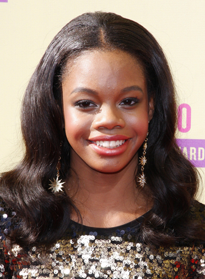 Gabby Douglas' Medium, Black, Wavy, Formal Hairstyle