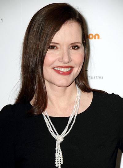 Geena Davis Medium, Straight, Sophisticated, Brunette Hairstyle