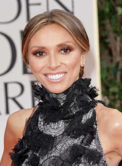 Giuliana Rancic Chic, Sophisticated, Brunette Updo with Highlights