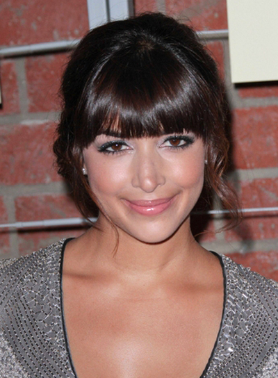 Hannah Simone's Romantic, Brunette, Updo Hairstyle with Bangs