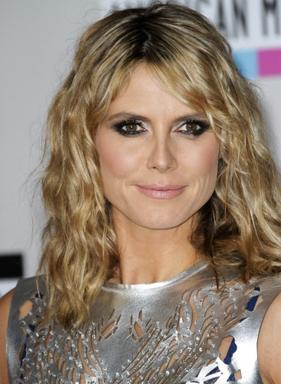 Heidi Klum Medium, Wavy, Tousled, Funky, Blonde Hairstyle