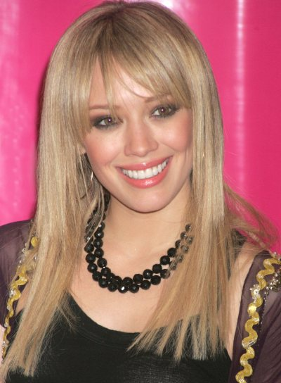 Hilary Duff Long, Blunt Hairstyle with Bangs