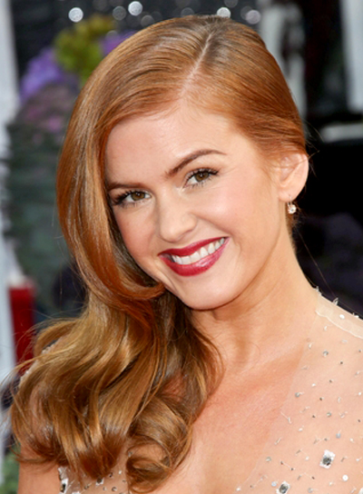 Isla Fisher's Long, Red, Wavy, Romantic Hairstyle
