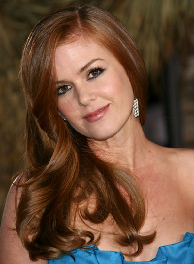 Isla Fisher Long, Romantic, Red Hairstyle