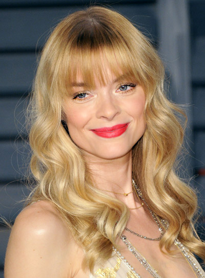 Jaime King Long, Wavy, Blonde Hairstyle with Bangs