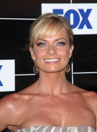 Jaime Pressly Middle, Sophisticated, Blonde Updo Hairstyle with Bangs