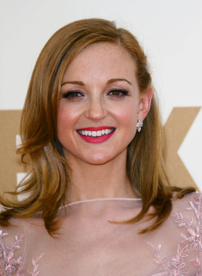 Jayma Mays Medium, Wavy, Layered, Red Hairstyle