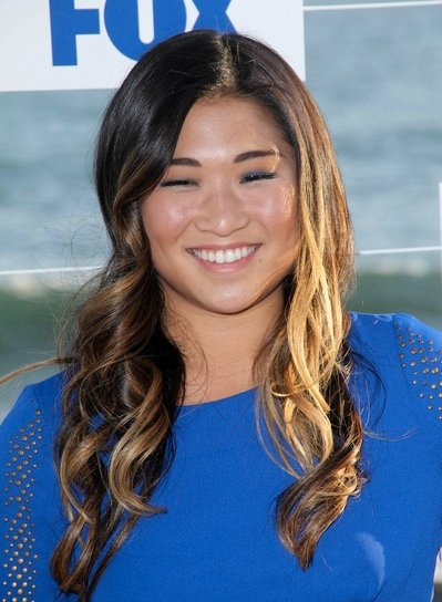 Jenna Ushkowitz Long, Curly, Brunette Hairstyle with Highlights