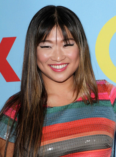 Jenna Ushkowitz's Long, Straight, Brunette Hairstyle with Bangs