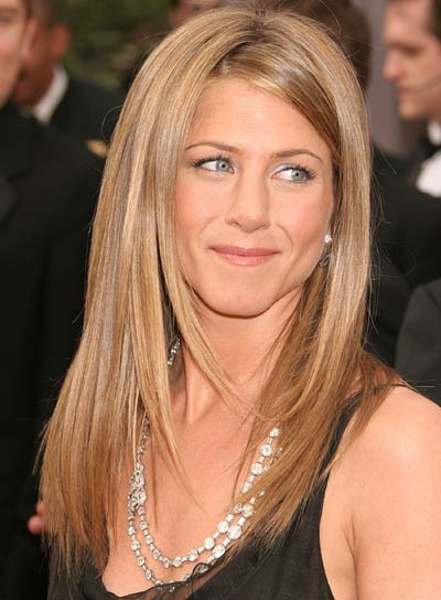 Jennifer Aniston Long, Straight Hair with Highlights and Layers