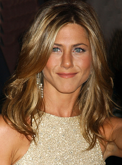 Jennifer Aniston Long, Wavy, Layered Hair with Highlights