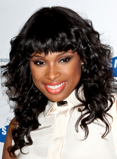 Jennifer Hudson's Curly, Party, Black Hairstyle with Bangs