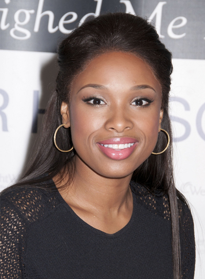 Jennifer Hudson Long, Straight, Chic, Black Half Updo