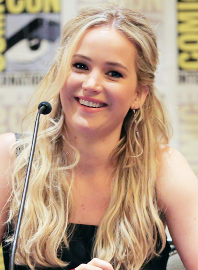 Jennifer Lawrence with a Long, Blonde, Wavy, Tousled, Half Updo Hairstyle