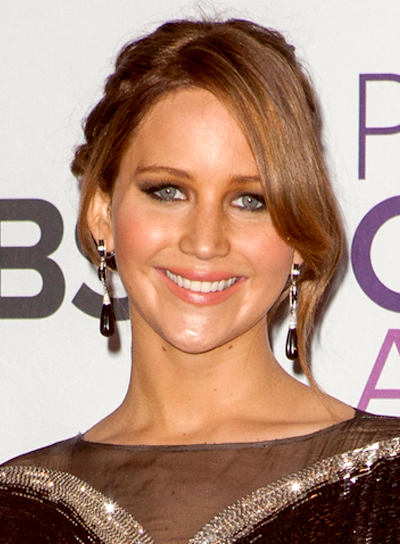 Jennifer Lawrence's Chic, Brunette, Updo Hairstyle with Braids and Twists