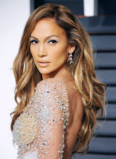 Jennifer Lopez Long, Wavy, Brunette, Romantic Hairstyle