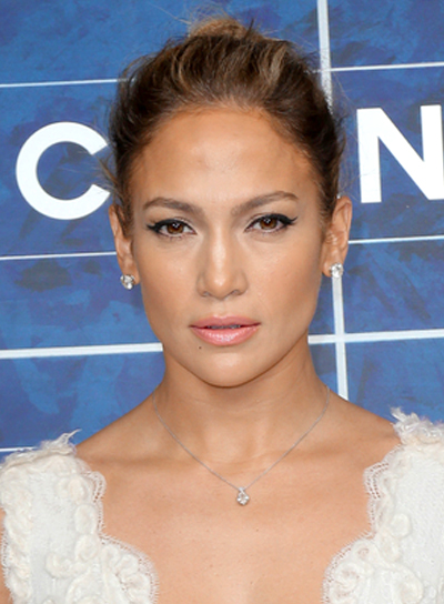 Jennifer Lopez's Chic, Tousled, Brunette, Updo Hairstyle