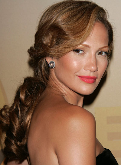 Jennifer Lopez Brunette, Curly, Long Ponytail
