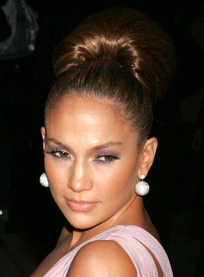 Jennifer Lopez Brunette, Ponytail Updo