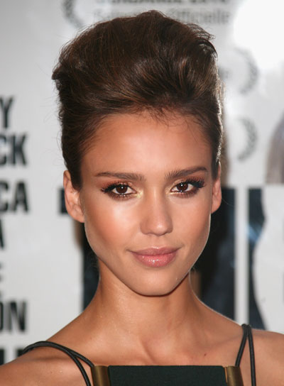 Jessica Alba Straight, Edgy, Funky Updo