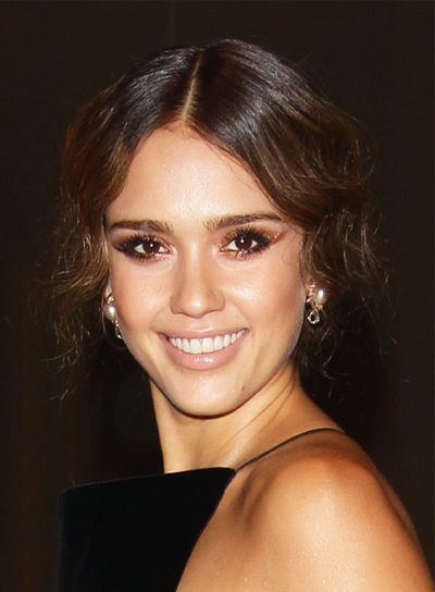 Jessica Alba Sophisticated, Chic, Wavy, Brunette Updo