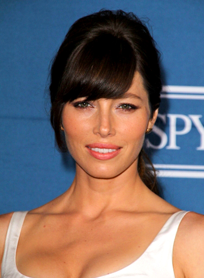Jessica Biel's Brunette, Chic, Updo Hairstyle with Bangs