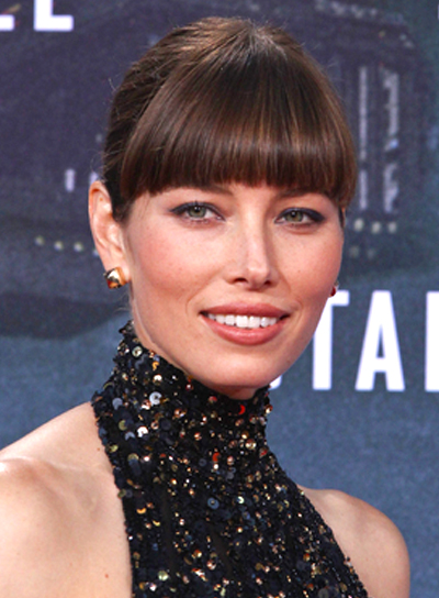 Jessica Biel's Chic, Brunette, Updo Hairstyle with Bangs