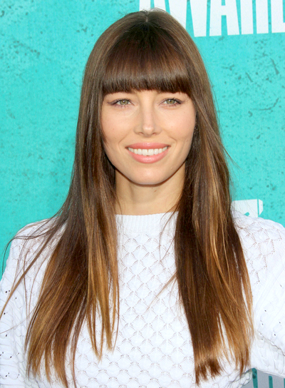 Jessica Biel's Long, Straight, Brunette Hairstyle with Bangs
