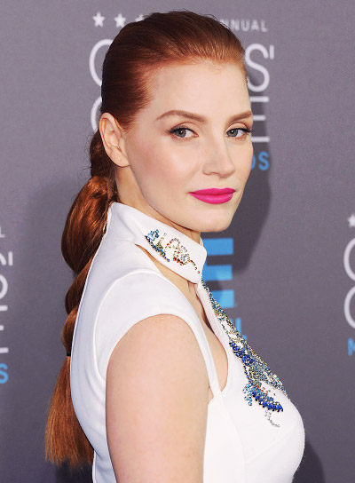 Jessica Chastain with a Long, Funky, Ponytail with Braids and Twists Hairstyle Pictures