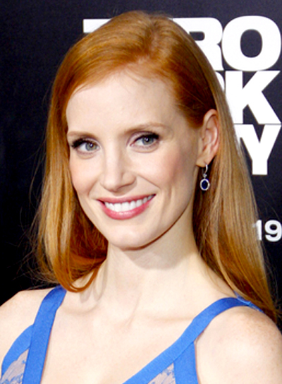 Jessica Chastain's Long, Straight, Red, Romantic Hairstyle