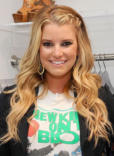 Jessica Simpson Wavy, Blonde Hairstyle with Braids and Twists