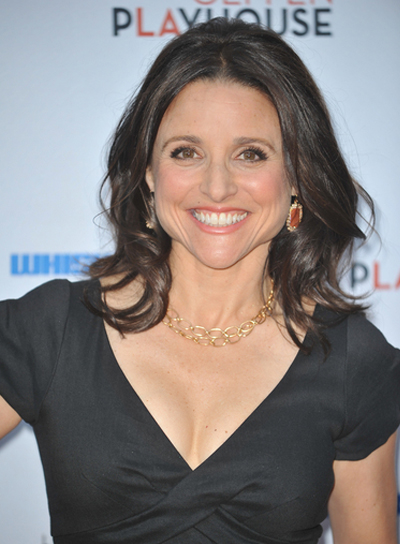 Julia Louis-Dreyfus Medium, Curly, Tousled Sexy, Black Hairstyle