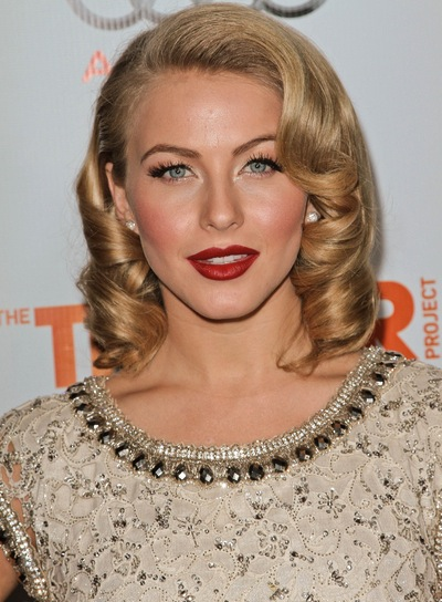 Julianne Hough Medium, Curly, Sexy, Blonde, Romantic Hairstyle