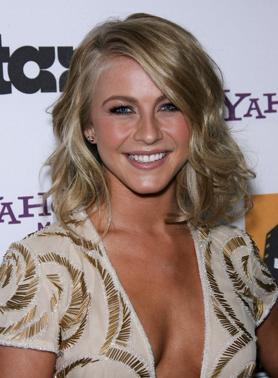 Julianne Hough Medium, Wavy, Sexy, Tousled, Blonde Bob