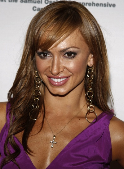Karina Smirnoff Long, Curly Hairstyle with Bangs and Highlights