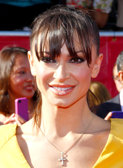 Karina Smirnoff's Long, Chic, Brunette, Ponytail Hairstyle with Bangs