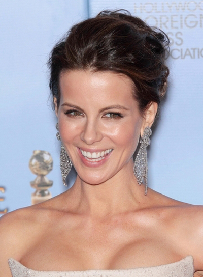 Kate Beckinsale Sexy, Tousled, Party, Brunette Hairstyle