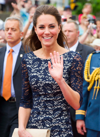 Kate Middleton Chic, Straight, Brunette Half Updo