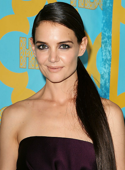 Katie Holmes with a Long, Brown, Prom, Ponytail Hairstyle Pictures