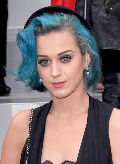 Katy Perry Medium, Tousled, Edgy, Funky, Party Hairstyle