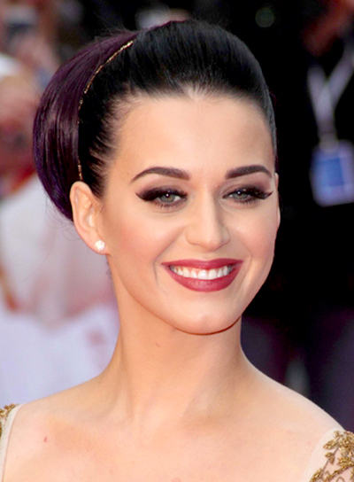 Katy Perry's Sophisticated, Formal, Brunette, Updo Hairstyle