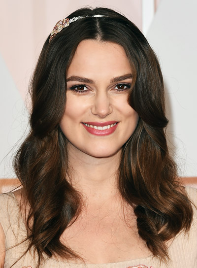 Keira Knightley Medium, Wavy, Brunette, Formal Hairstyle