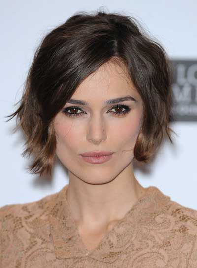 Keira Knightley Tousled, Brunette, Layered Bob