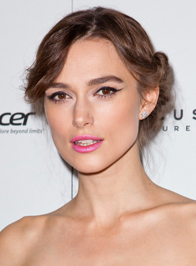 Keira Knightley's Romantic, Brunette, Tousled, Updo Hairstyle