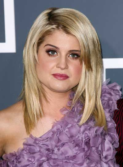 Kelly Osbourne Medium, Straight, Layered, Sophisticated, Blonde Hairstyle