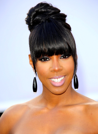 Kelly Rowland's Black, Chic, Updo Hairstyle with Bangs
