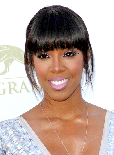 Kelly Rowland's Black, Straight, Ponytail Hairstyle with Bangs