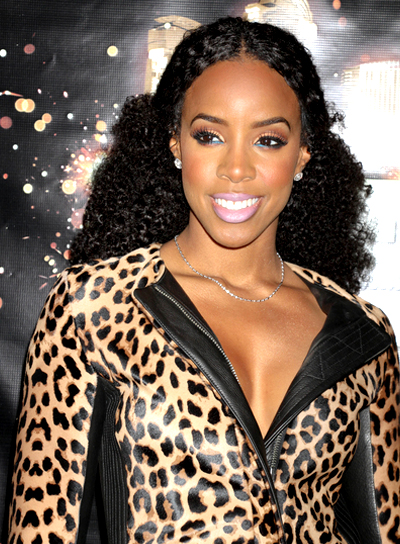 Kelly Rowland's Long, Curly, Black, Party Hairstyle
